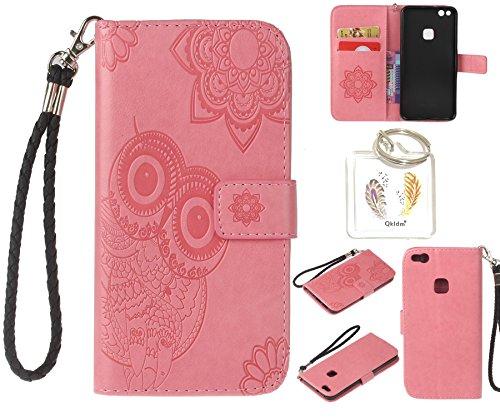 Preisvergleich Produktbild für Huawei P10 Lite PU Leder Silikon Schutzhülle Handy case Book Style Portemonnaie Design für Huawei P10 Lite + Schlüsselanhänger ( WAQ (1)