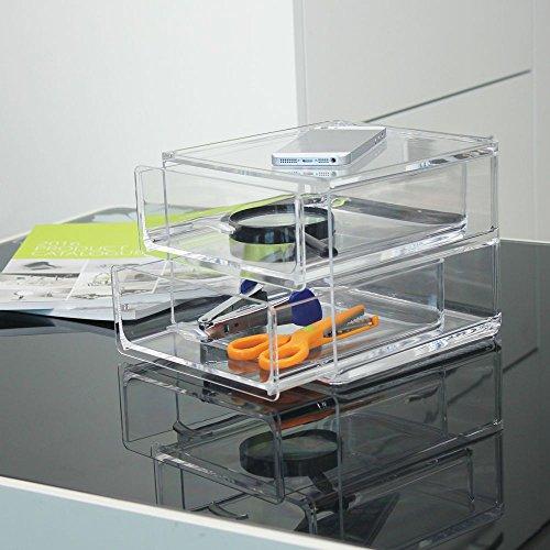 Mangeoo_ Acryl kosmetische Aufbewahrungsbox box Schublade Typ transparente Plastische, kosmetische Double Desktop box