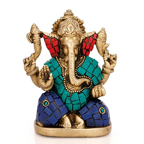 Collectible India Handmade Brass God Ganesha Metal Statue Chaturbhuj Pose Ganesh Idol Gifts