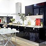 Humtool 10×0,61M Noir Papier Peint Autocollant Rouleau Adhésif Sticker Mural Etanche pour Armoire Cuisine Meuble Electroménager Carreaux Mur Verre en PVC