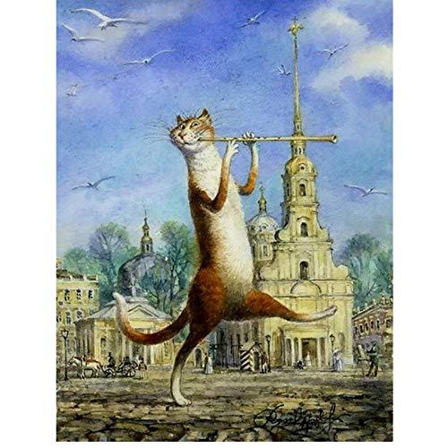 Waofe Katze Spielt Die Flöte Handgemachte Farbe Hochwertige Leinwand Schöne Malen Nach Zahlen Überraschungsgeschenk Große Leistung With Frame