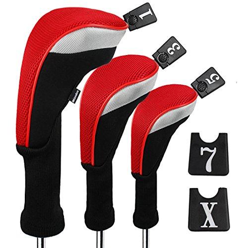 Andux Set Golf 460cc Holzkopfabdeckungen für Golfschläger mit langem Hals und austauschbarer Nummer, 3 Stück Anhänger, 3Stück., Long Neck, Red, MT/MG22 -