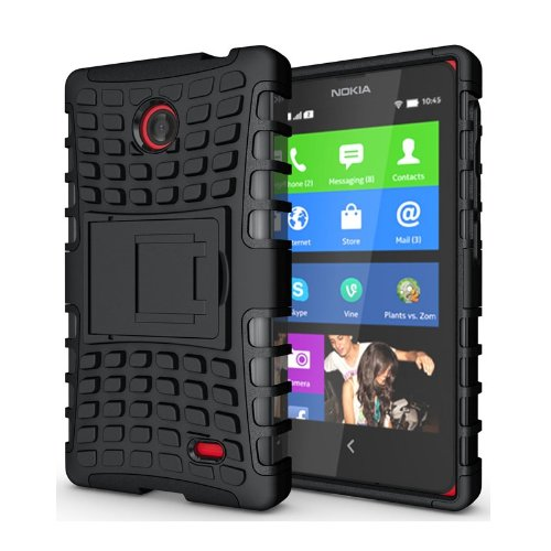 Heartly Flip Kick Stand Hard Dual Armor Hybrid Bumper Back Case Cover For Nokia X X+ Dual Sim Plus Android A110 - Black  available at amazon for Rs.399