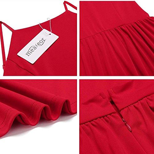 Meaneor Damen Rückenfrei Spaghettiträger Kleid Sommerkleid Blumenprint Partykleid Wickelkleid Ärmellos Kurz Minikleid Weinrot