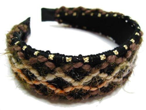rougecaramel - accessoires cheveux - Serre tête/headband large laine tricoté - marron