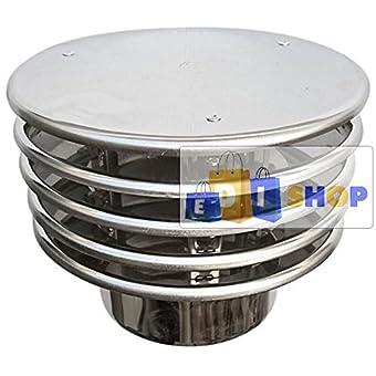 CHEMINEE PAROI SIMPLE TUYAU TUBE INOXIDABLE AISI 316 - Terminale dn 220 cappello lamellare