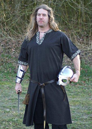 16. Jahrhundert Männer-kleidung (Mittelalterliche Tunika kurzarm, schwarz von Battle-Merchant - LARP Mittelalter Wikinger Römer Größe L)