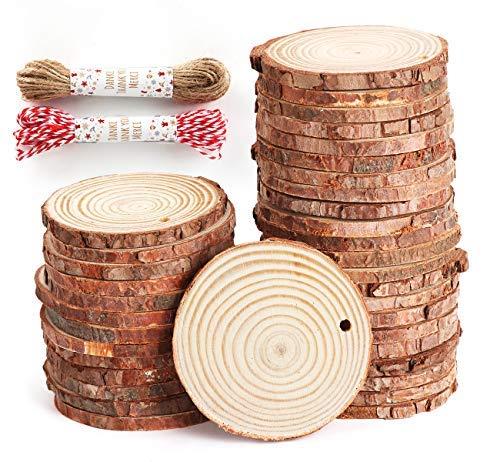 50pz dischetti di legno grezzo 6-7 cm dischi in legno decorazioni fette dischetti rotondo con 20m corda per natale feste matrimonio segnaposto forniture