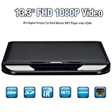 DDAUTO DD1333MB Ultra Thin Overhead MP5 Player Touch Key 1080P HD IPS Screen Flip Down Monitor Car Roof-mounted Player with Remote Control Double Dome LED Lights Supports USB SD HDMI 13.3 Inch Black