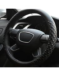 Hivel Luxe Gaufrage Grille Cuir Veritable Couvre Volant Voiture Universel Anti Slip Respirant Treillis Genuine Leather Vehicule Auto Car Steering Wheel Cover 38cm - Noir