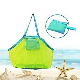 BornFeel grande borsa da spiaggia in rete per giocattoli sabbia via borsa con cerniera per bambino piscina viaggio Sandy…