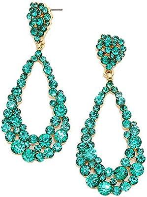 Glamour Noche de Bodas Novia Joyas Abi larga pendientes cristal turquesa Turquoise 6,8cm de largo