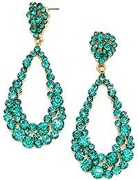 2d91036e71fe Glamour Noche de Bodas Novia Joyas Abi larga pendientes cristal turquesa  Turquoise 6