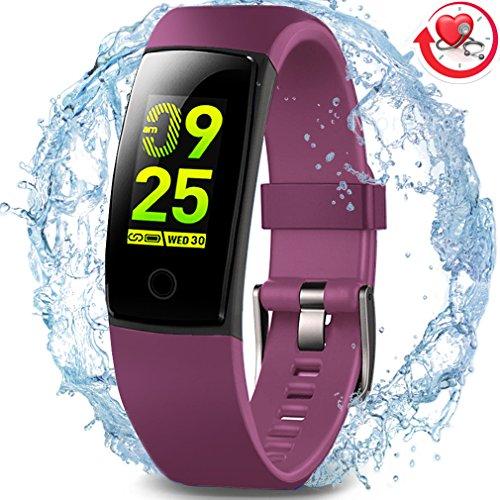 Wasserdichter Aktivitäts-Tracker, MorePro Farbdisplay Fitness Tracker mit Herzfrequenz-Blutdruckmessgerät, Schwimmen Smart Armband Pedometer Uhr mit Schlaf-Monitor für Frauen Männer Kinder (Lila)