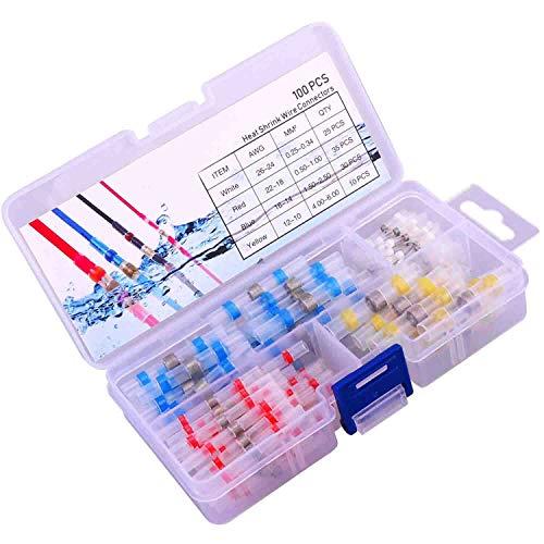 JOYOOO 100pcs Conectores Termocontraíbles Terminales de Cables Impermeable Empalmes Conectores de Cables...