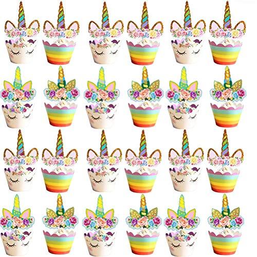 Poluka 48-teiliges Set Einhorn Cupcake Topper und Wrapper Kids Party Cake Toppers Hochzeit Party Kuchen Dekoration Einhorn Motto Party Favors