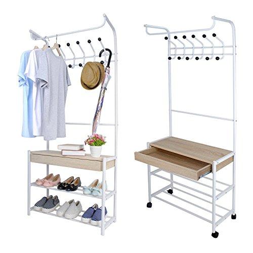Garderobenständer Kleiderständer auf Rollen mit Ablage Schuhablage Regal Schublade Weiß Stabil Standgarderobe Metall Multizweck 70x30x166cm