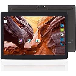 YUNTAB K107 10.1'' Andorid Tablette, MTK6580 Quad-Core 1.3GHZ, 2 Go de RAM + 16 Go de ROM, écran HD IPS,Double Emplacement pour Carte SIM, Prise en Charge 3G / 2G, WI-FI, GPS, Bluetooth(Noire)