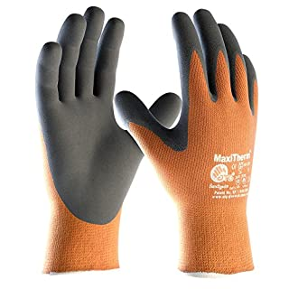 ATG 30-201 MaxiTherm Unisex Work Gloves Latex Palm Coated Cold Insulated (Pack of 6 Pairs), 8 - Medium, Orange