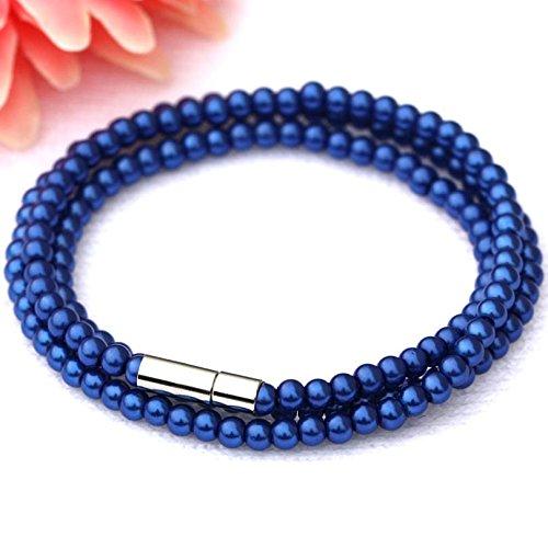 Daxey Dame Girl Exquisite 4mm-Perlen Glasperlen Armband Braut Hochzeit Schmuck [blau]