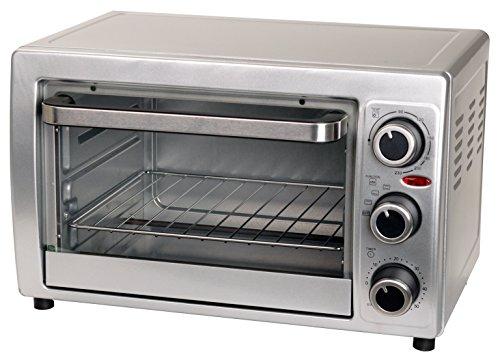 Efbe-Schott Mini-Ofen 15 l mit Herausnehmhilfe, Backblech und Grillrost (100-230°C), 1300 W, Metall/Glas, Silber, SC OT 900.1 -
