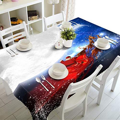 Mwpo tovaglia in poliestere 3d decorazione per cucina natalizia copertura per tavolo da picnic addensato antipolvere, 3, m