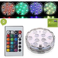 Bcony Sumergible de Lámpara Luz LED con mando a distancia,Multi Color que destella a prueba de agua de luz brillante para la boda/fiesta/de la Navidad/piscina/Fish Tank decorativa