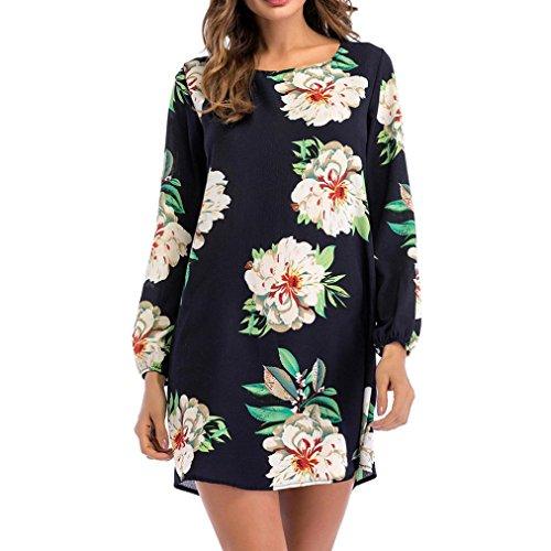 Kleid für Damen Sannysis Freizeitkleid Langarm Print Floral Damen O-Ausschnitt Bogen Minikleid Partykleid Cocktailkleid Abendkleid (L, Marine) (Bogen-abend-tasche)