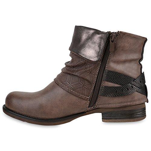 Damen Biker Boots Nieten Schnallen Stiefeletten Rockig Gr. 36-42 Khaki