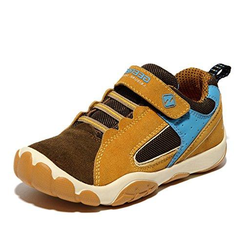 SAGUARO Jungen Trekking Wanderschuhe Kinderschuhe mit Klettverschluss Leicht Sport Schuhe Outdoor Laufschuhe Mädchen Turnschuhe Sneaker, Braun 38