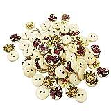 Baoblaze 50 Pcs Holz Knopf Knöpfe Kinderknöpfe Babyknöpfe, Mischte Blume Zum Nähen und Basteln Handwerk Dekoration