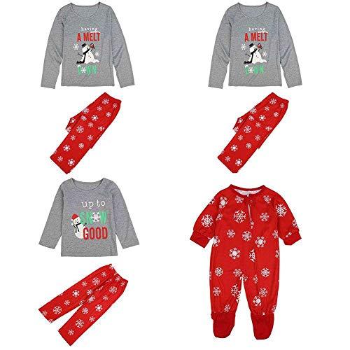 Weihnachten Passenden Familie Schlafanzug Schneemann Schneeflocke Pyjamas Set Eltern Kind Homewear