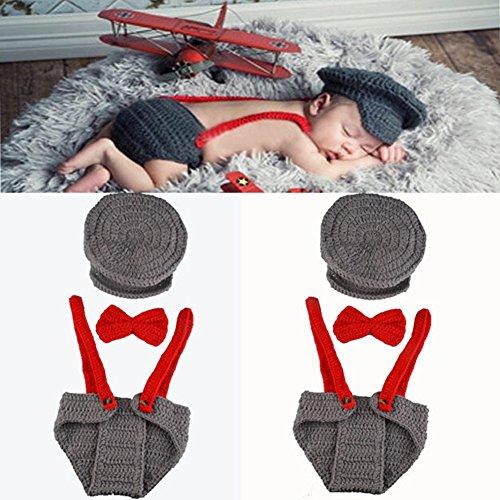 Anqeeso Baby Kleidung für Fotografie, Neugeborene Baby handgefertigt gestrickt Fotografie Foto Prop Outfit passt Kleidung Gap Hat Set Baby Gap Outfit