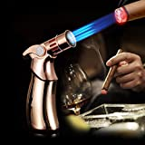 Jobon Quad Jet Straight Flame Butane Spray Torch Cigar Lighter ZB-659 one second to cool itself down (Gold)