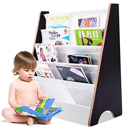COSTWAY Kinder-Bücherregal Hängefächerregal Büchergestell Zeitungsständer mit 4 Ablagefächern (Kaffeebraun+Weiß) -