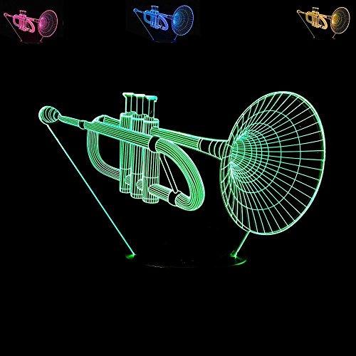 3D Musical Instrument Trompete Glühen LED Lampe 7 Farben erstaunliche optische Täuschung Art Skulptur Ferneinstellung Lichter produziert einzigartige Lichteffekte und Decor-kreative Geschenk
