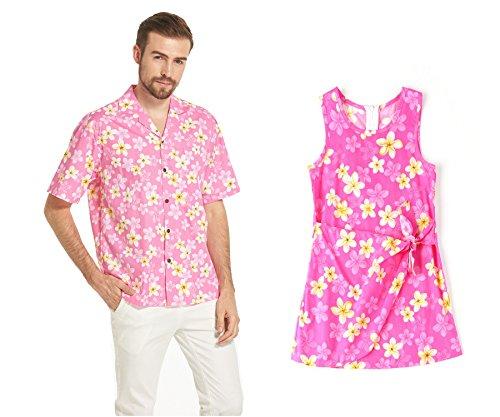 a93a6aa71 Hecho en Hawai Conjunto de hija de padre Luau Aloha Camisa Vestido de niña  en Bonita Plumeria rosado XL-6