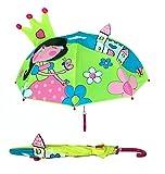 3D Kinder Regenschirm Princess | Prinzessin mit Krone, Schloss und Blumen | Farbe: grün, blau, rosa | Regenschirm für Mädchen | Regenschirme für Schulkinder Kindergartenkinder | Wasserdicht und Winddicht | leichtes öffnen - keine Verletzungsgefahr | Schützt auch vor Sonne und Hitze | Länge: 60cm, Ø 73cm | Kids Umbrella | Premium Kinderregenschirme von HECKBO