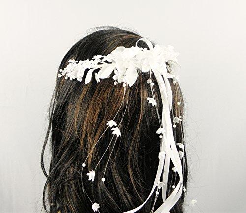 Haarschmuck Haarkranz Kopfschmuck Haarreifen Kommunion FK-11 Creme