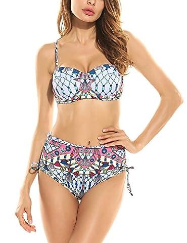 Ekouaer Damen Bandeau Brazilian Bikini Push Up Blumen zweiteilig Bikini-Set mit Träger Bikinislip