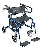 KosmoCare Stryder II Folding Rollator walker with footrest - Blue