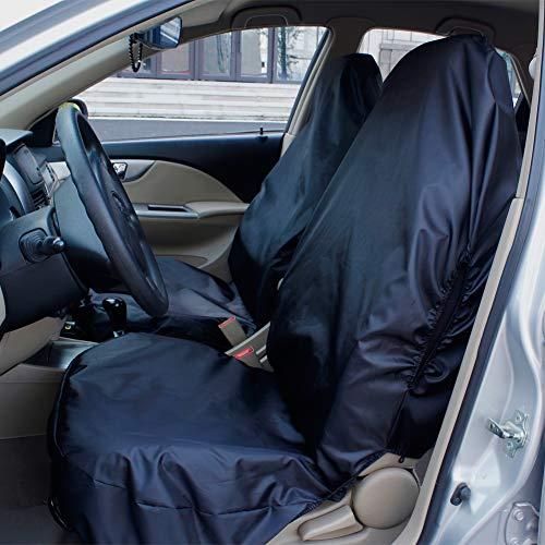 AUTO HIGH Coprisedili per Auto Impermeabile Set Nero, Universale, Nylon Resistente, Protezioni per Seggiolini Auto - 2 x Front