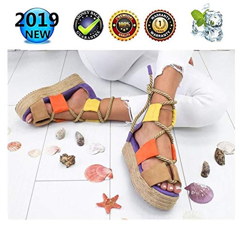 sandals Women Peep Toe Platform Espadrilles, Retro Wedges Ladies Summer Buckle Ankle Shoes Strappy Fashion Leather Flat Lace Up 3 cm High Heels, Casual Comfy Kontrastfarbe Platform Sandal