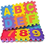 FunBlast 36 Pieces Mini Puzzle Foam Mat for Kids, Interlocking Learning Alphabet and Number Mat for Kids