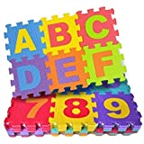 FunBlast 36 Pieces Mini Puzzle Foam Mat for Kids, Interlocking Learning Alphabet and Number Mat for Kids - Multi-Color