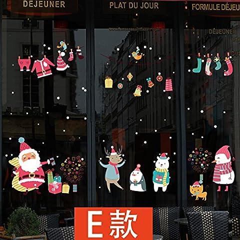 Anno Nuovo Giorno Di Natale Ornamenti Azienda Griglie Vetri Porta Poster Mall Negozi Di Abbigliamento Vetrina Parete Di Vetro Sticker ,E,74*116Cm