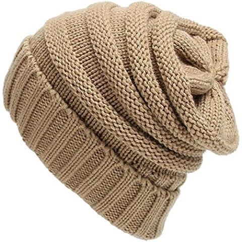 Tongshi Unisex Slouchy Tejer Beanie Hip Hop casquillo caliente del invierno del sombrero del esquí (Caqui)