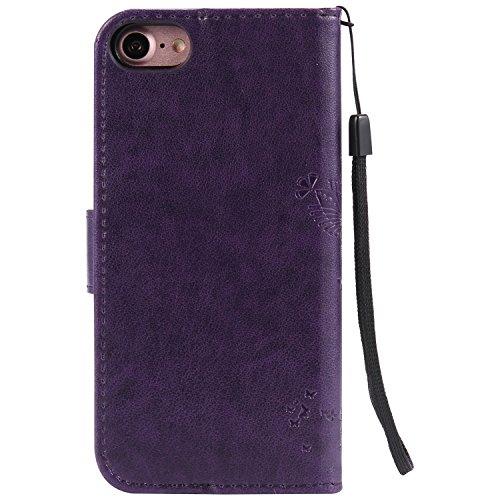 Apple iPhone 6 Plus 5.5 Custodia, Feeltech Sbalzato Albero Gatto Farfalla Modello Fiore Progettazione [Stylus Pen] Per il coperchio Apple iPhone 6 Plus 5.5 Case, Elegante Cuoio dellunità di Elaborazi Viola