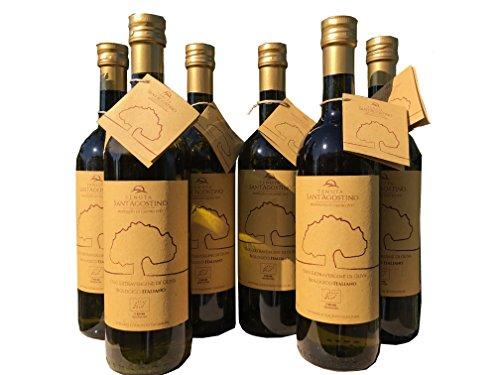 Olio extravergine di oliva biologico 6 bott. 0,75 l tenuta sant'agostino campagna 2016
