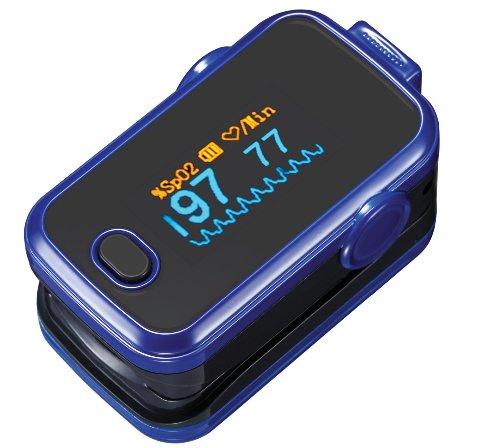 Pulsioxímetro oxímetro SPO2 & pulsómetro azul incluyendo 2 pilas